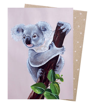 Lilac Koala  Greeting Card - Earth Greetings