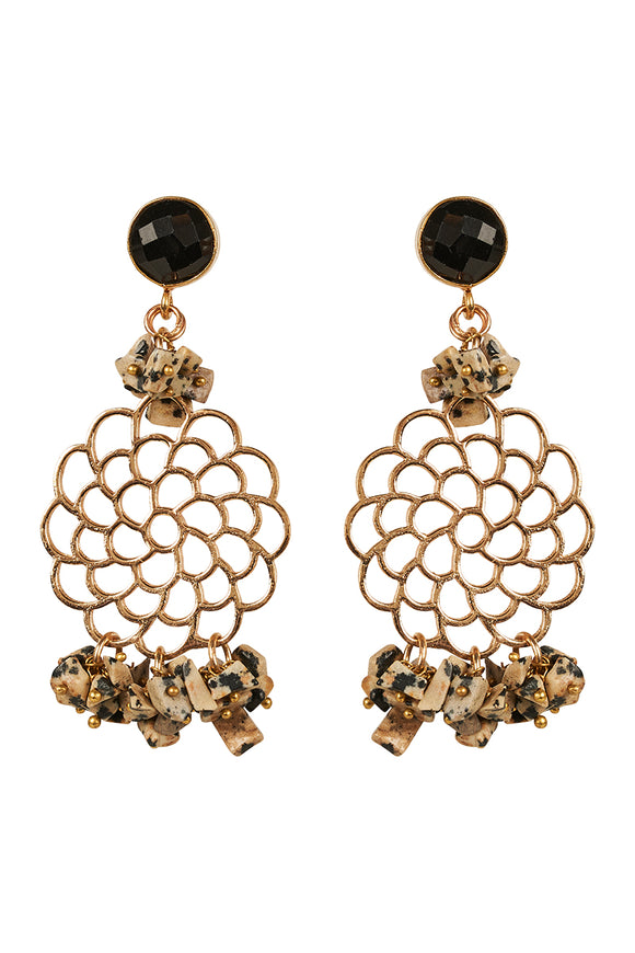 Ava Stone Filigree Earrings - eb&ive