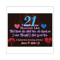 21 Reasons Lies Square Stickers