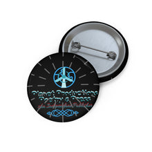 Load image into Gallery viewer, Planet Productions Poetry Burst Logo Custom Pin Buttons