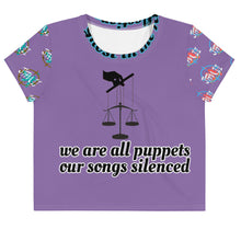 Load image into Gallery viewer, Planet Productions We are all puppets Enslaved All-Over Print Crop Tee