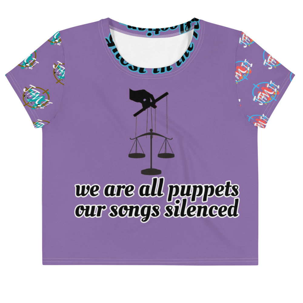 Planet Productions We are all puppets Enslaved All-Over Print Crop Tee