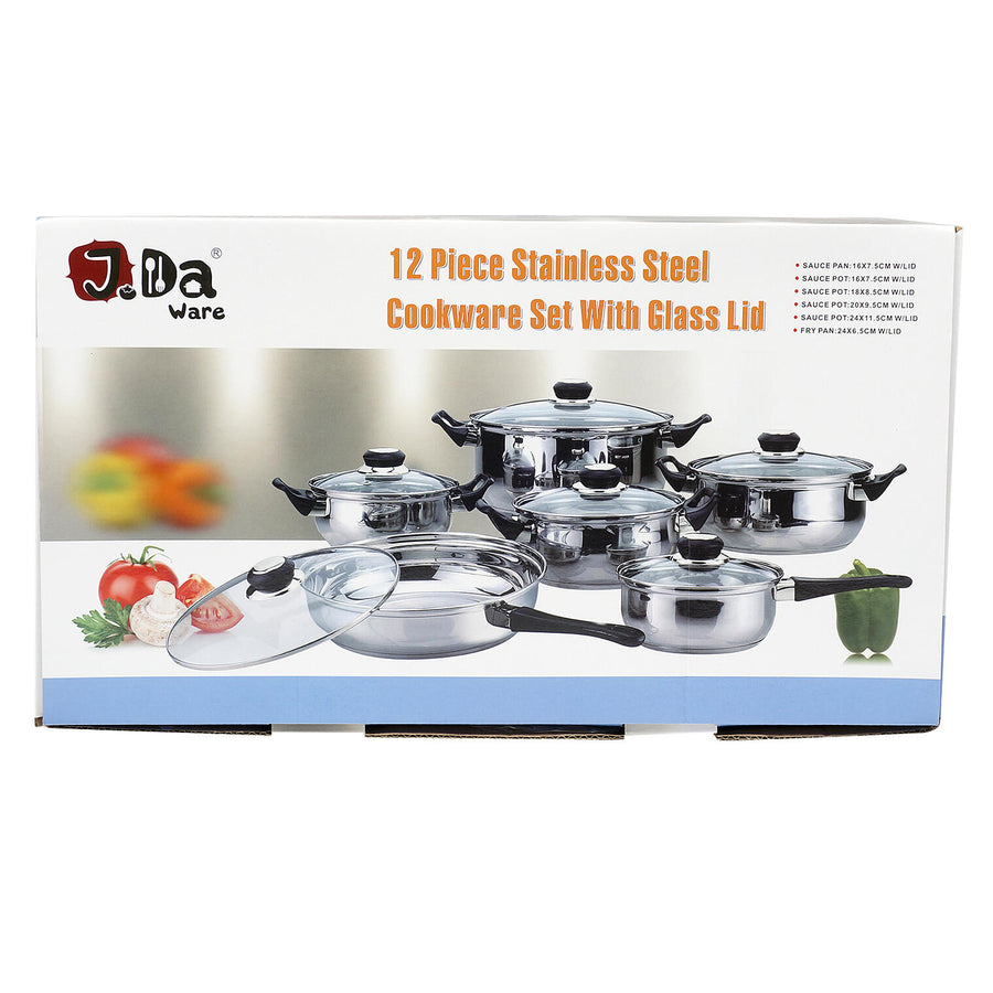 J Da Ware 12 Piece Stainless Steel with Glass Cookware Set