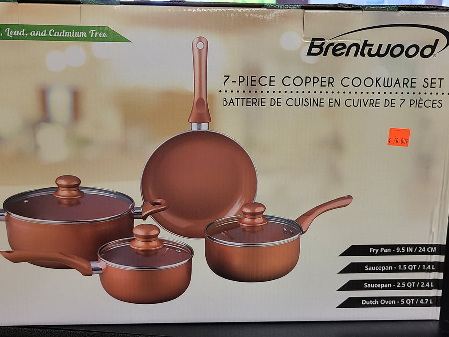 7 Piece Nonstick Copper Cookware Set