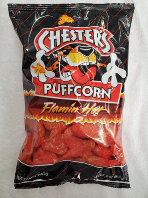 Chesters Puffcorn & Fries Flamin Hot chips 2oz