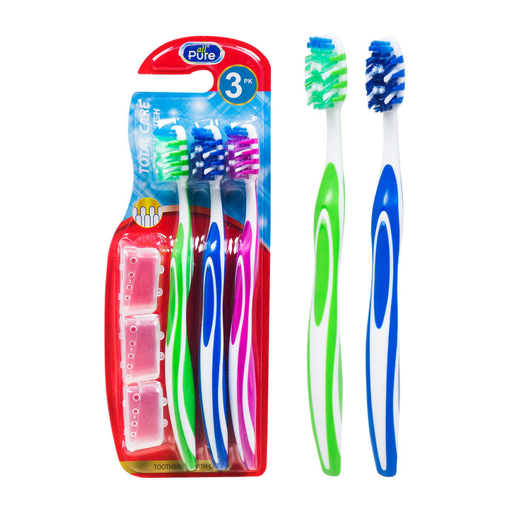 All Pure 3 Pack Total Care Toothbrushes with Clear