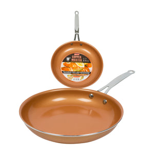 "Master Copper 10"" Copper Fry Pan with Stainless Steel Handle & C"