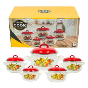 Mega Cook 10 Piece Enamel Pot Set- 2.2qt-6.5qt