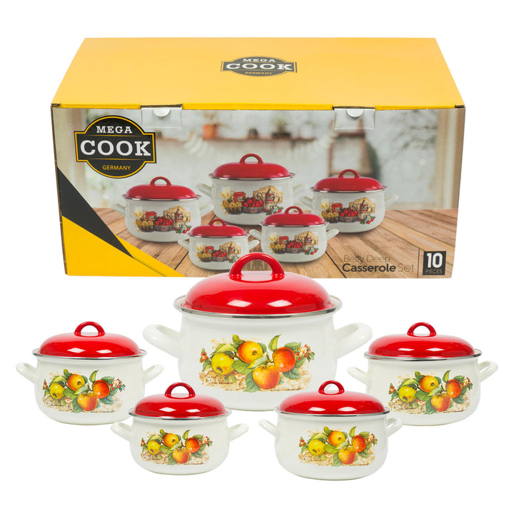 10 Piece Enamel Pot Set- 2.2qt-6.5qt