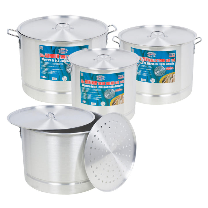 9 Piece Aluminum Stock Pot Set- 64QT-100QT