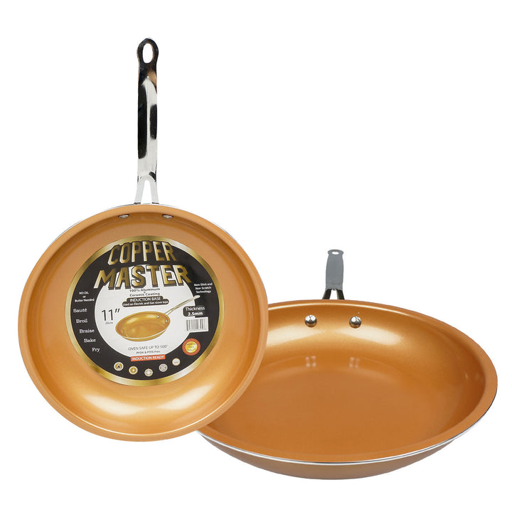 "11"" Copper Fry Pan with Stainless Steel Handle"