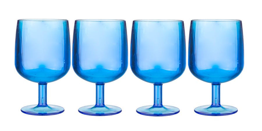 Blue & Clear Wine Glasses Set of 4 Package