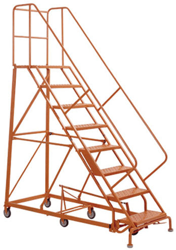 "Perforated 24""W 7 Step Steel Rolling Ladder 21""D Top Step W/ Handrails - Orange -"