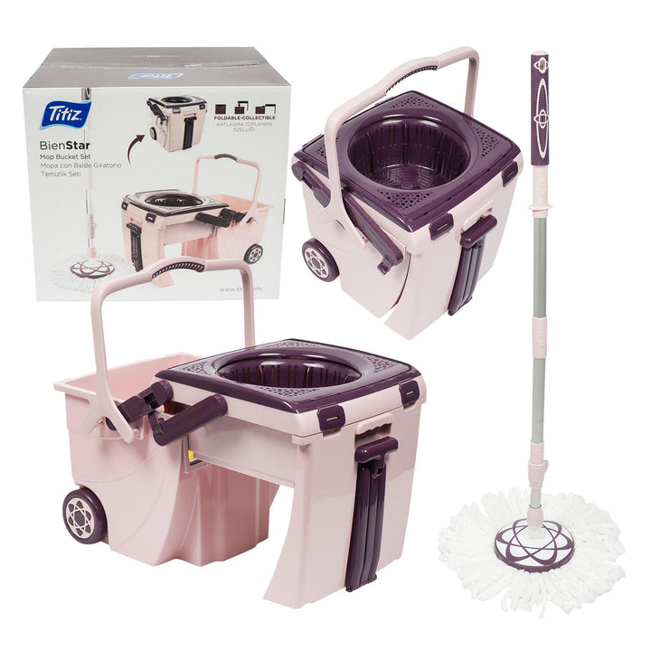 2 Piece Mop Set with Bucket  Pink
