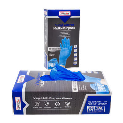 100 Piece Vinyl Gloves Blue