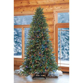 9ft XMAS Tree Best Choice Products 9ft Pre-Lit Spruce Hinged Artificial Christmas Tree w/ 550 Incandescent Lights, Foldable Stand