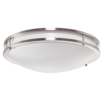 "Decorative Ringed Ceiling Light 14"", 17W LED Module, 120V, 3000k, Nickel Satin - LEDGeeks"