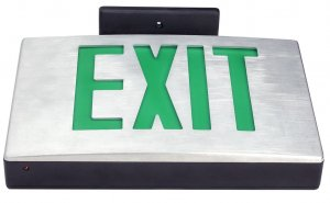 Die Cast Aluminum Exit Sign, White Housing, White Face, Red Letters, Battery Backup, 120-277V - LEDGeeks