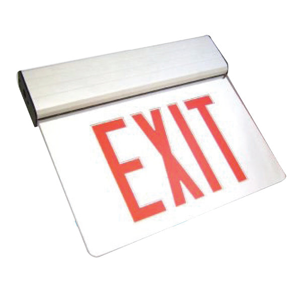 Edge Lit LED Exit Sign, Double Sided, White Housing, Red Letters, 120-277V, 5000K - LEDGeeks