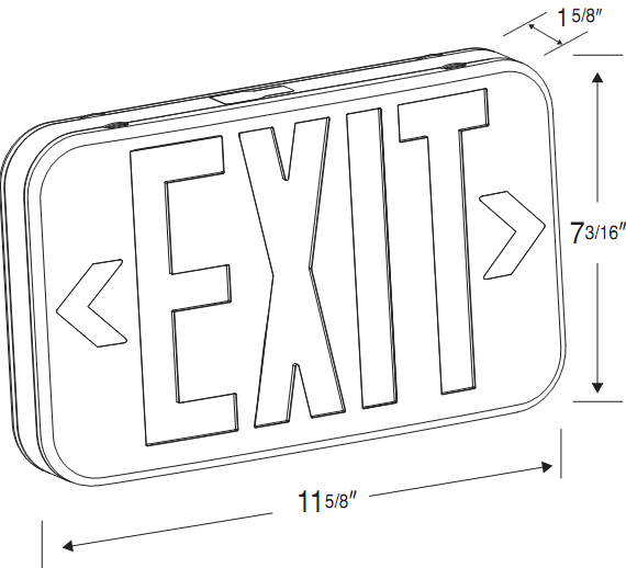 LED Exit Sign, Low Profile, Black Housing, Red Letters, 120-277V - LEDGeeks