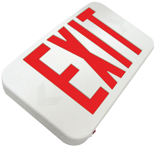 LED Exit Sign, Low Profile, Remote Capable, White Housing, Red Letters, 120-277V - LEDGeeks