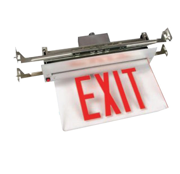 Recessed Edge Lit LED Exit Sign, Aluminum Housing, 2 Faces, Red Letters, Battery Backup, 120-277V - LEDGeeks