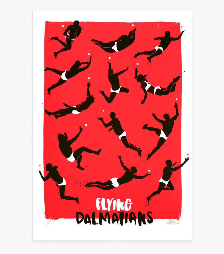 Flying Dalmatians, Picigin Screenprint by Mile Modic
