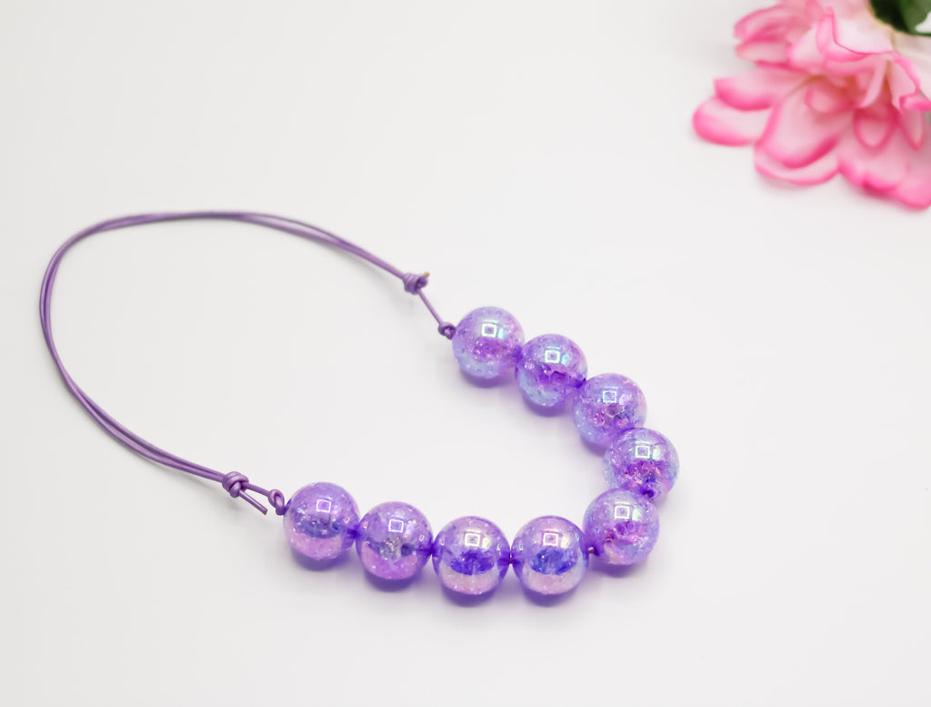 Purple Crackle Regular Adjustable Necklace