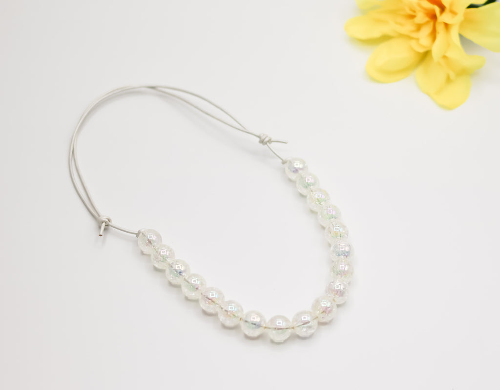 White Crackle Bitty Bead Necklace