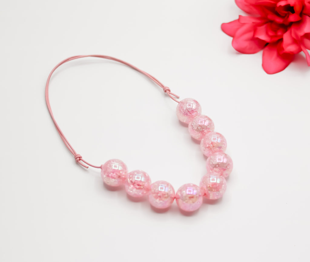 Pink Crackle Regular Adjustable Necklace