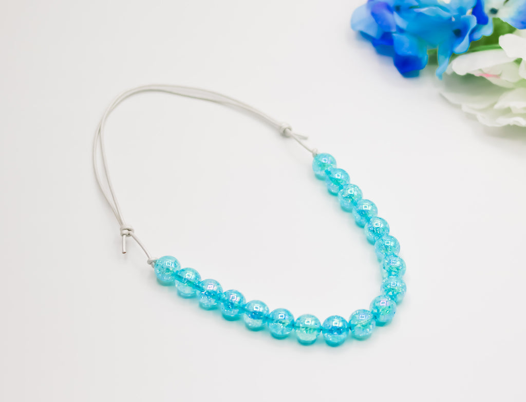 Blue Crackle Bitty Bead Necklace