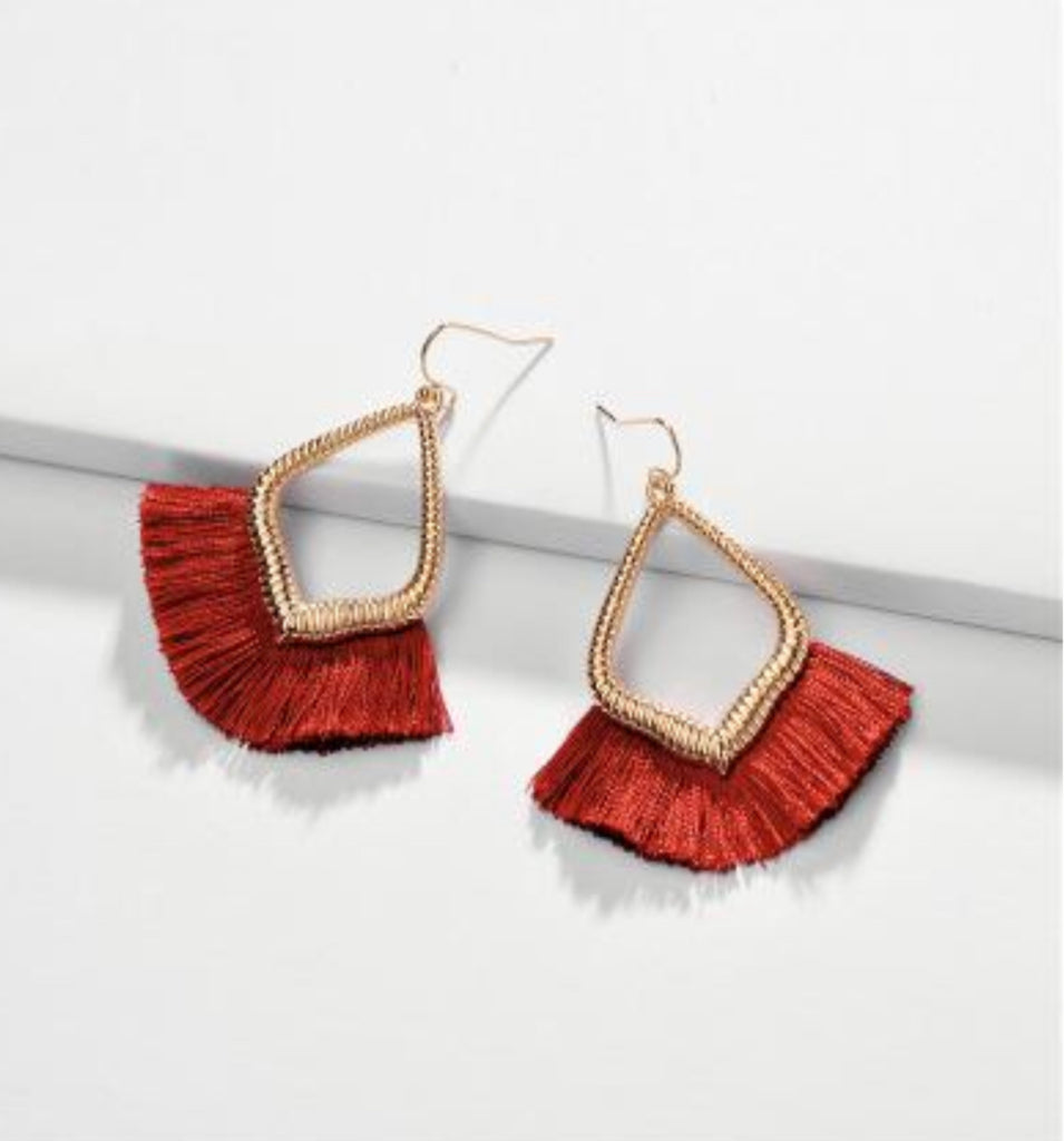 Crimson Tassel Teardrop Dangles