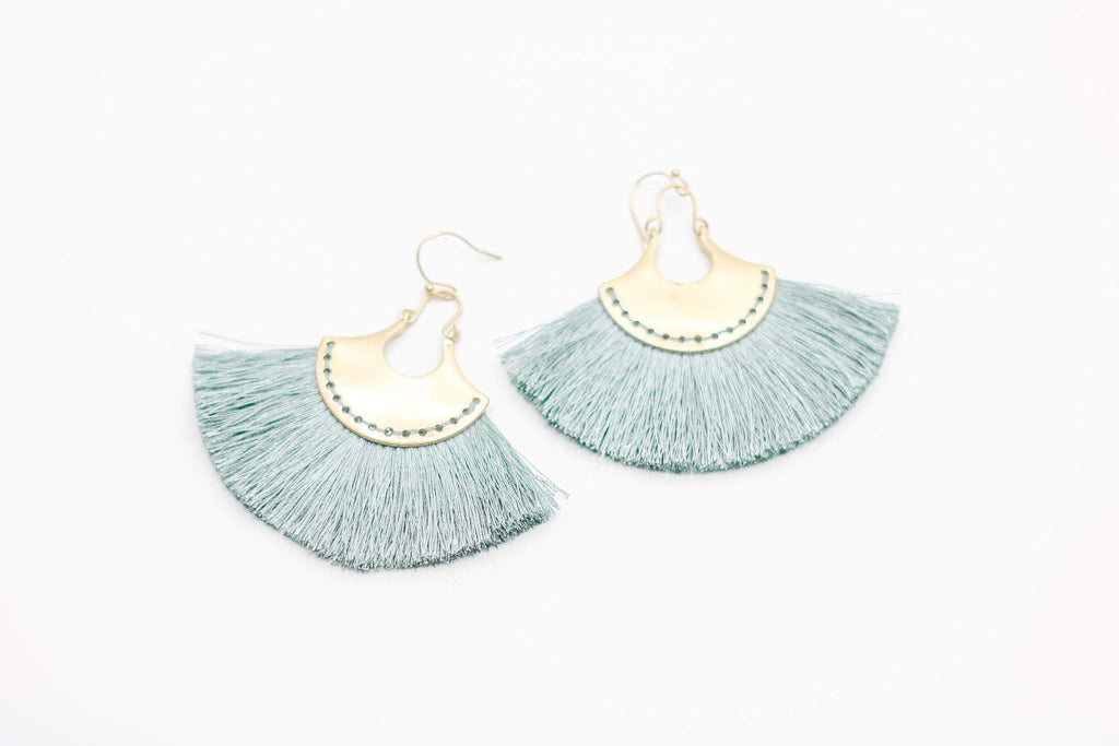 Sage Fringe Earrings (Large)