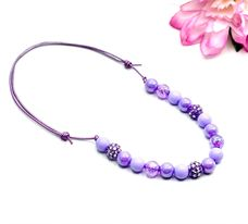 Purple Glitzy Solid Bitty Bead Necklace