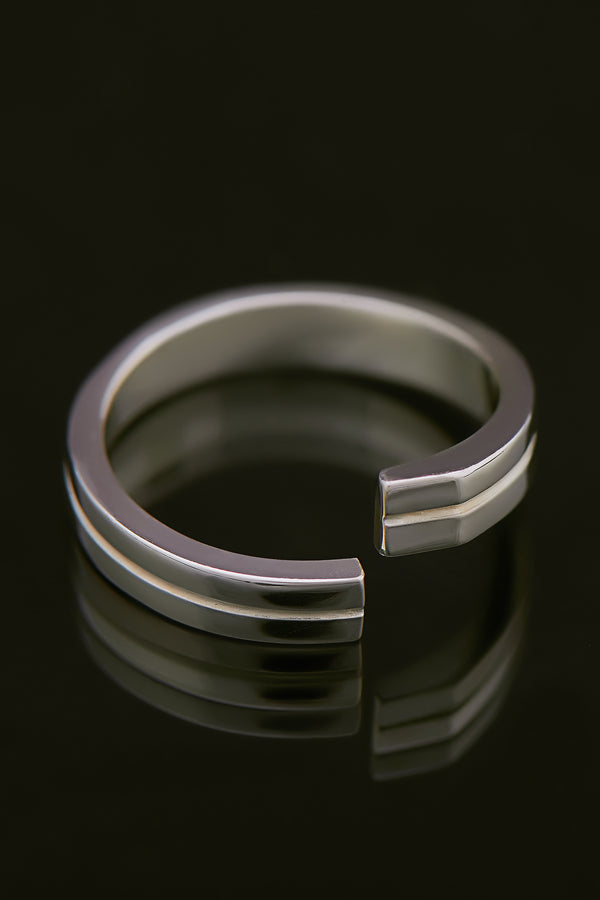 Precision Sterling Silber Ring (M), rhodiniert