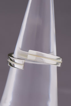 Precision Sterling Silber Ring, rhodiniert, Glanz
