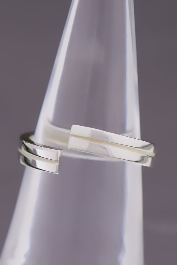 Precision Sterling Silber Ring (Gr.54), rhodiniert, Glanz