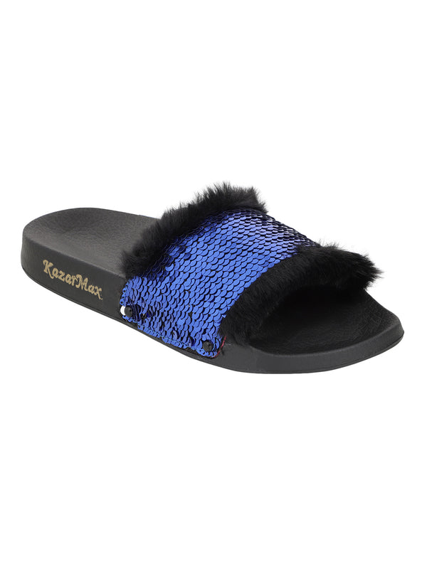 On A Whim - Black & Blue Reversible Sequinned Slides.