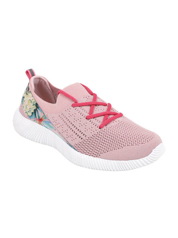 LUSH PINK - KazarMax XXIV Women's & Girl's Comfortable Pink Floral Slipon Socks Sneakers/Trainers
