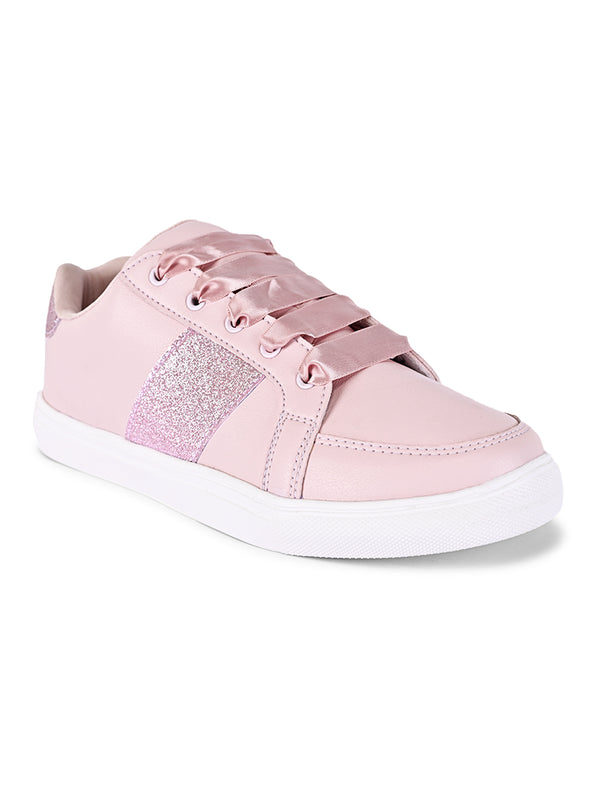 pink shimmer strip sneakers