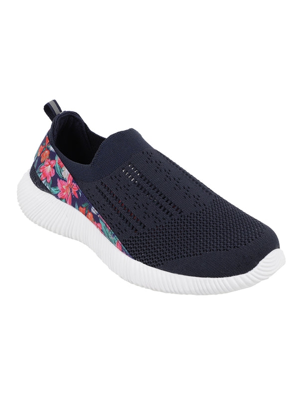 La Flor - KazarMax XXIV Women's & Girl's Comfortable Navy Blue Floral Slipon Socks Sneakers/Trainers