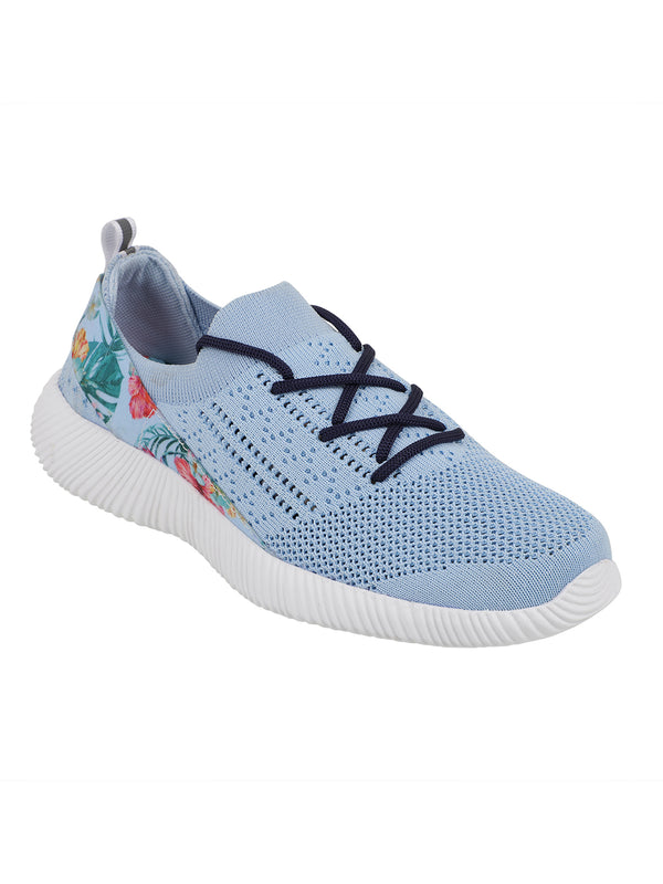LUSH BLUE - KazarMax XXIV Women's & Girl's Comfortable Light Blue Floral Slipon Socks Sneakers/Trainers