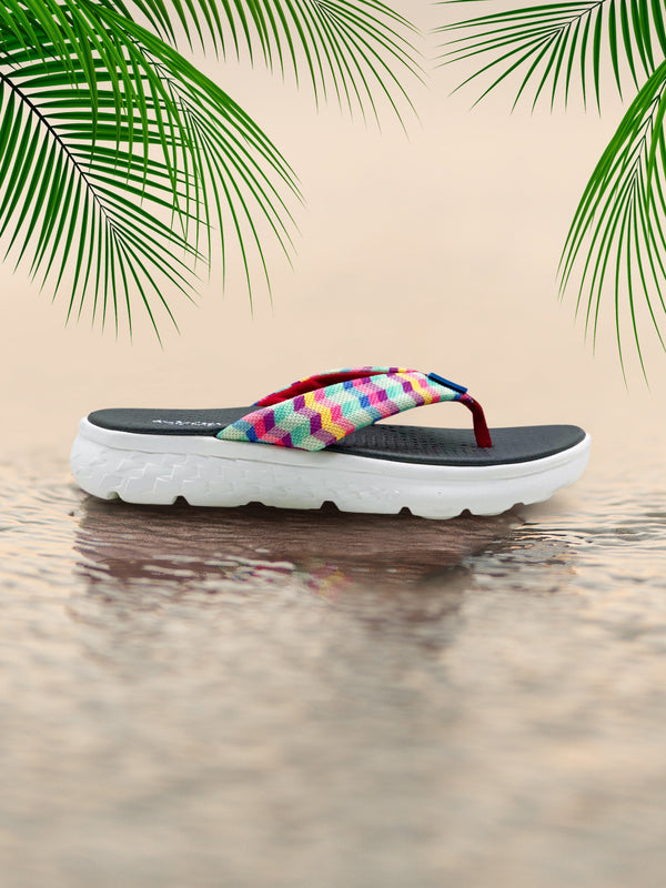 CHEVRON COLOURS - KazarMax Ladies's Multicolour Chevron Memory Foam Anti Skid Slippers