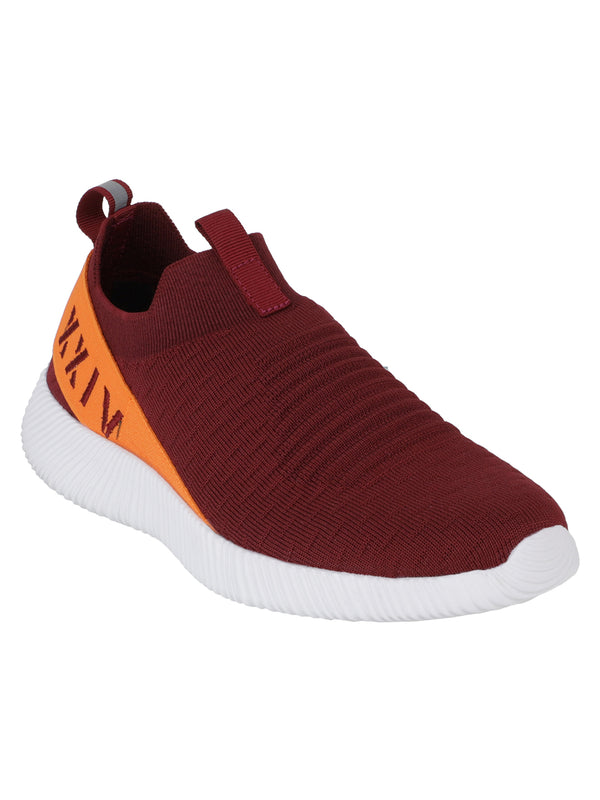 Squash - KazarMax XXIV Men's Burgundy Maroon Orange Lifestyle Socks Sneakers / Slipons Shoes