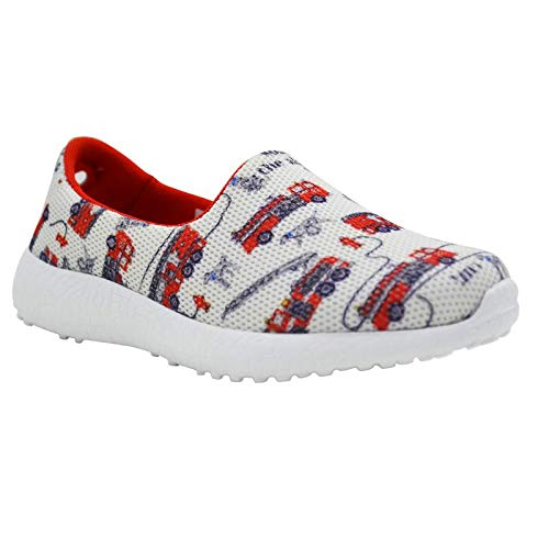 RING THE ALARM - KazarMax Girl's & Boy's (Unisex) White Red Firetruck Printed Slipon/Loafer/Sneaker Shoes