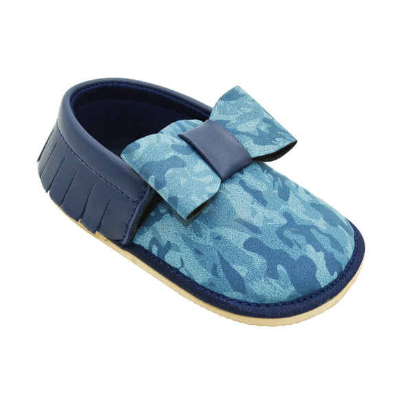 BLUEBERRY TOOTSIES - KazarMax Anti-Skid Breathable Soft Comfortable Navy Bow Applique New Born Baby Boy Shoes/Booties