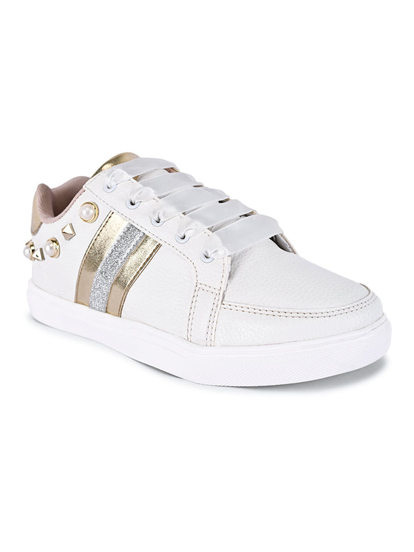 white sneakers studs women