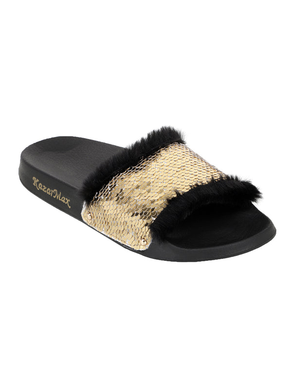 On A Whim - Gold & White Reversible Sequinned Slides.