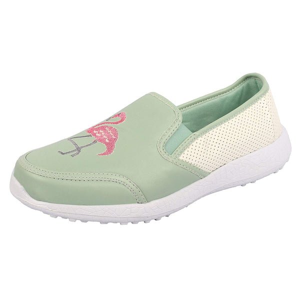 MINT JULEP - KazarMax Women's Flamingo Embroidered Faux Leather Slipon Sneakers/Shoes