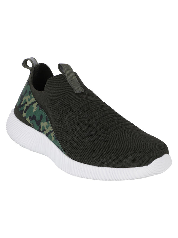 Smokescreen - KazarMax XXIV Men's Olive Green Camo Lifestyle Socks Sneakers / Slipons Shoes